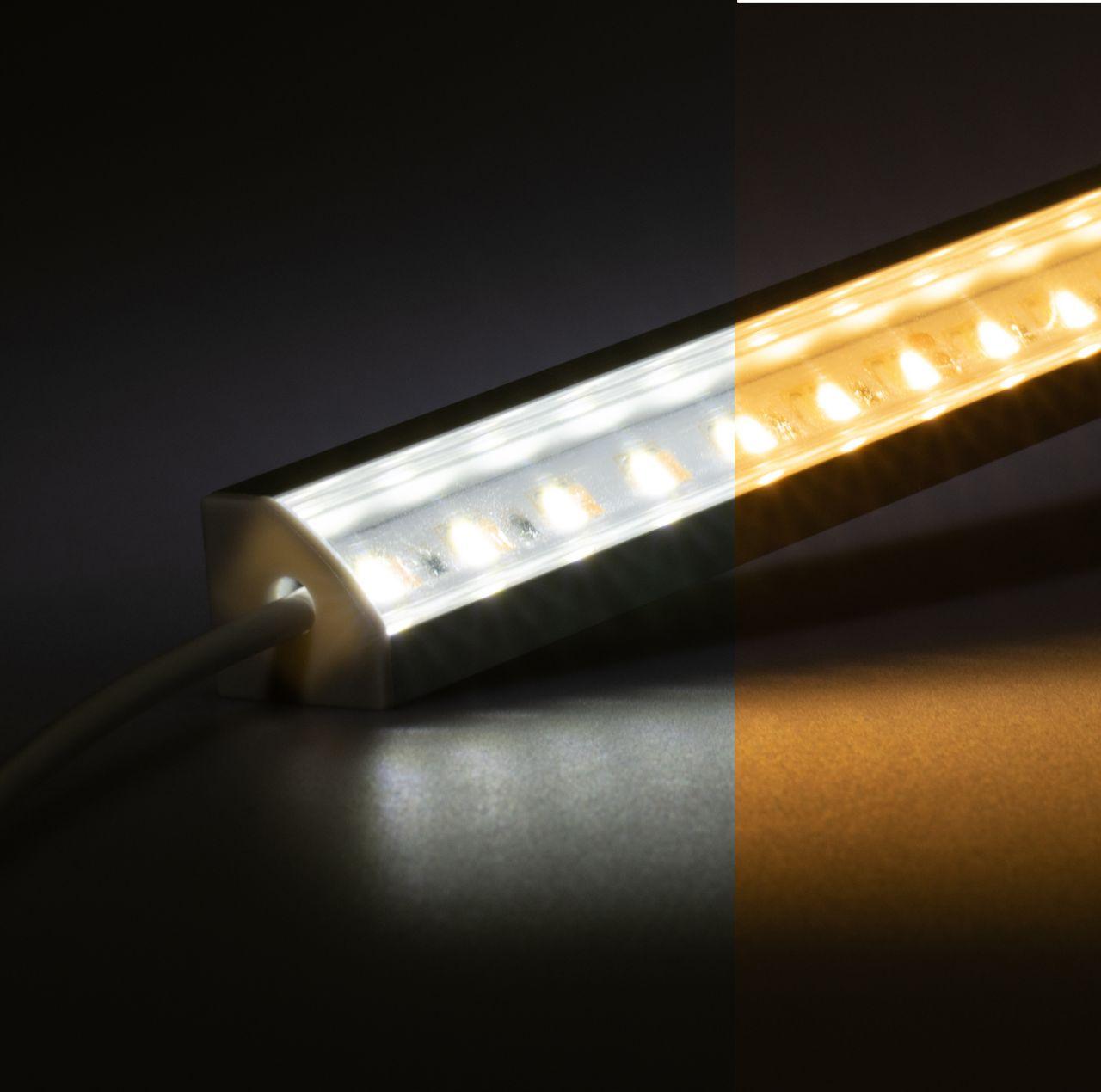 24V Aluminium LED Eckleiste – einstellbare Farbtemperatur – transparente Abdeckung