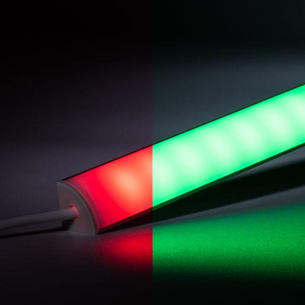 24V wasserfeste Aluminium LED Eck-Leiste rund – RGB – diffus - IP65