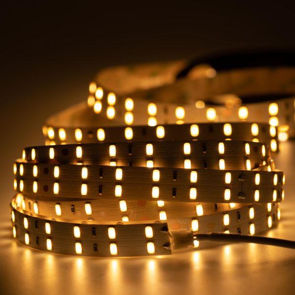 24V Double Line High-Power LED Streifen – warmweiß – 120 LEDs je Meter – alle 10cm teilbar