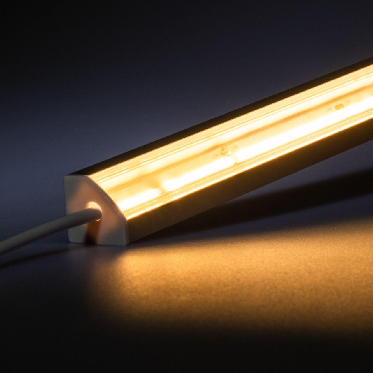 24V Aluminium LED Eckleiste – COB - warmweiß – transparente Abdeckung