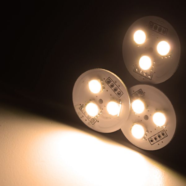 12V LED-Cluster rund 3x 5730 SMD-LEDs fertig verkabelt - warmweiß 120°