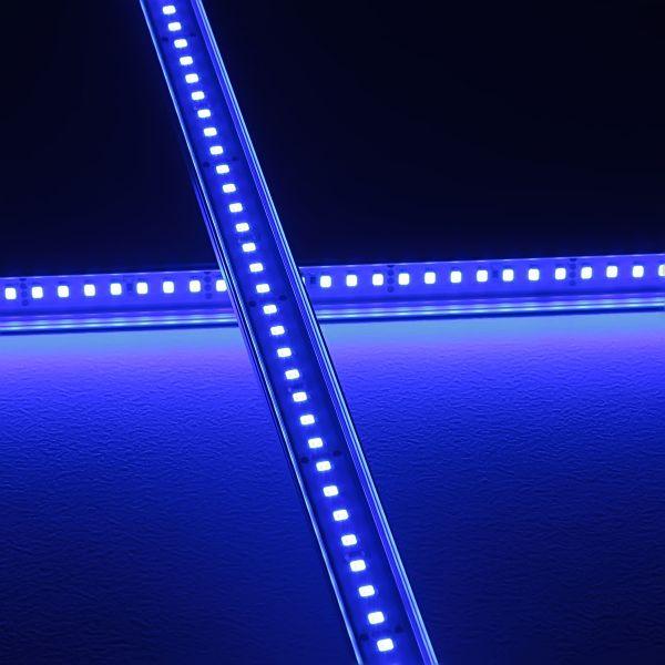 Slim-Line Alu LED-Leiste ab 33cm mit 42 LEDs bis 198cm mit 273 LEDs - Abdeckung klar - 24V - blau