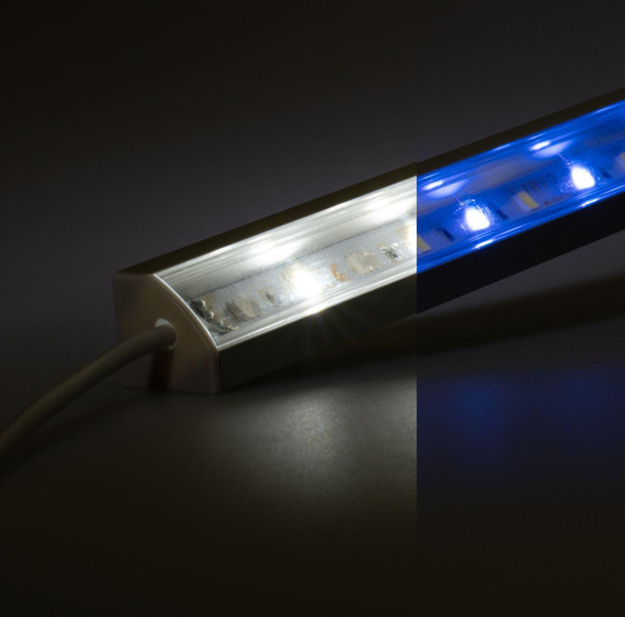 24V Aluminium LED Eckleiste – RGBW ( RGB + weiß ) – transparente Abdeckung