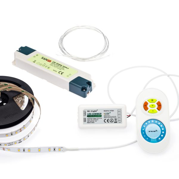 24V LED Streifen Set mit Fernbedienung und Netzteil, 500cm Länge, Lichtfarbe warmweiß